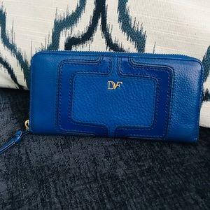 Diane Von Furstenburg Long Blue Leather Wallet